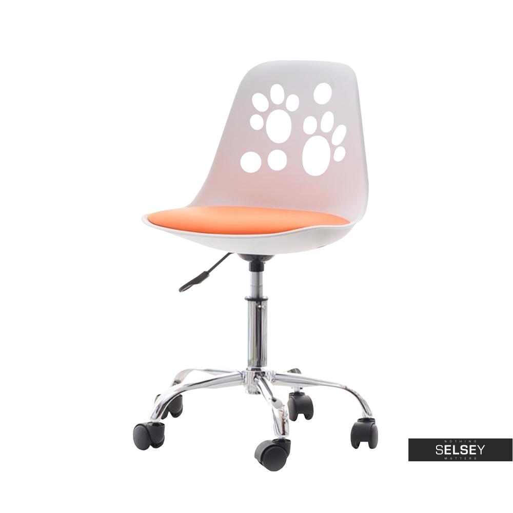 Fotel biurowy Foot biało - pomarańczowy dziecięcy do biurka