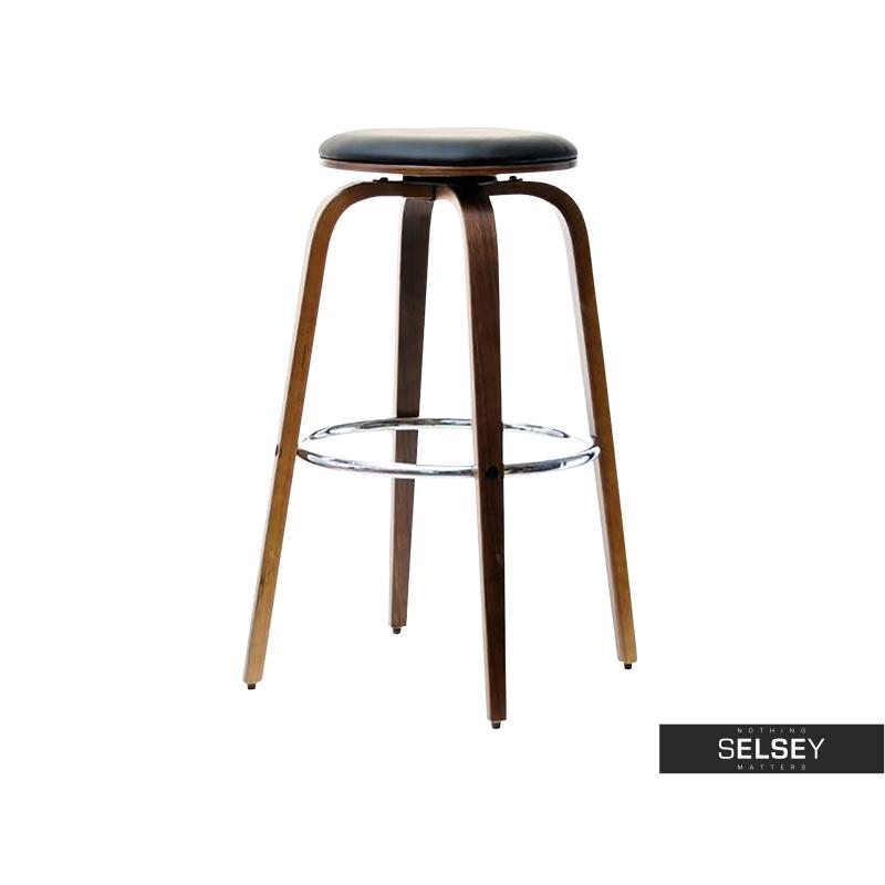 Hoker 41 orzechowo-czarny obrotowy stołek barowy