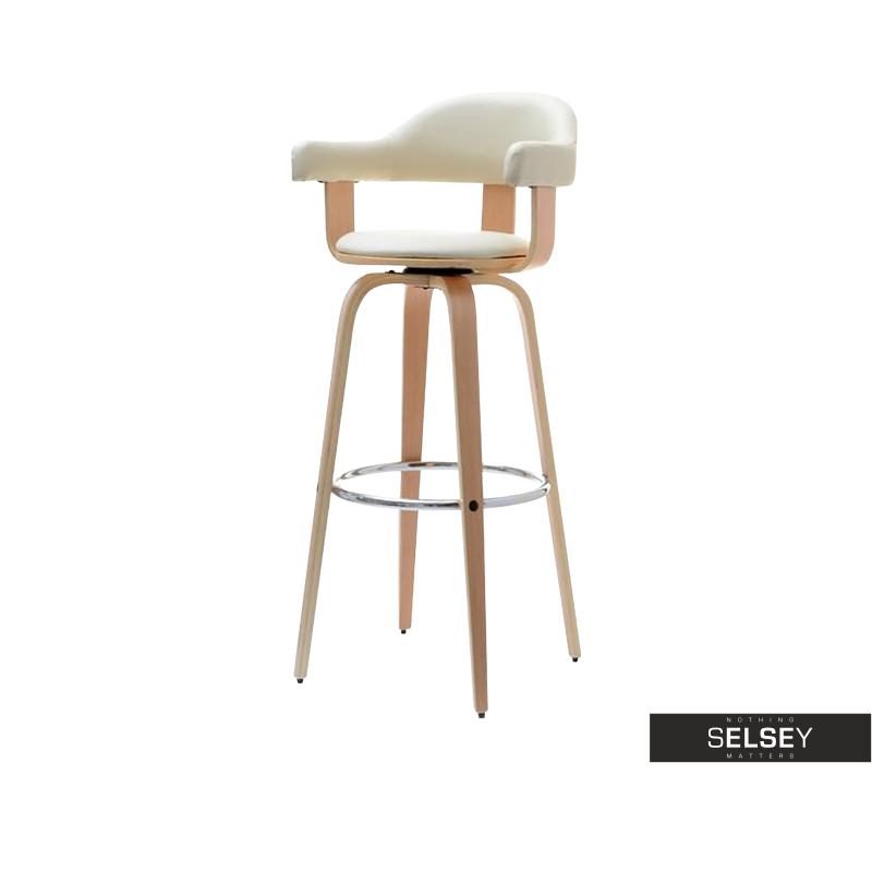 Hoker 37 dąb krem obrotowe krzesło barowe do nowoczesnej kuchni