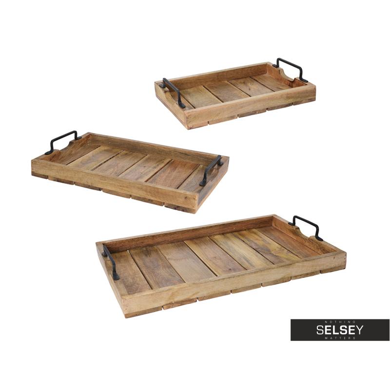 Zestaw trzech drewnianych tac z metalowymi uchwytami