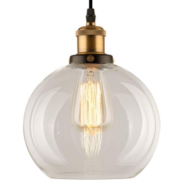 Lampa wisząca New York Loft 2 czerń mosiądz z transparentnym kloszem