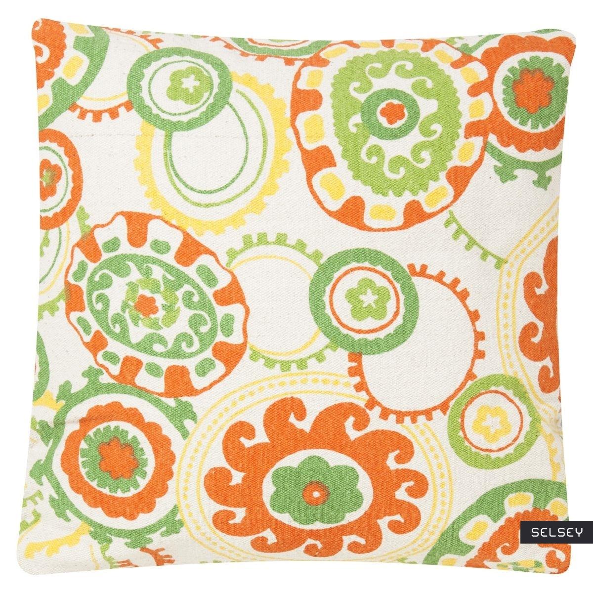 Poduszka z poszewką Colour Jam miętowo pomarańczowy 45x45 cm