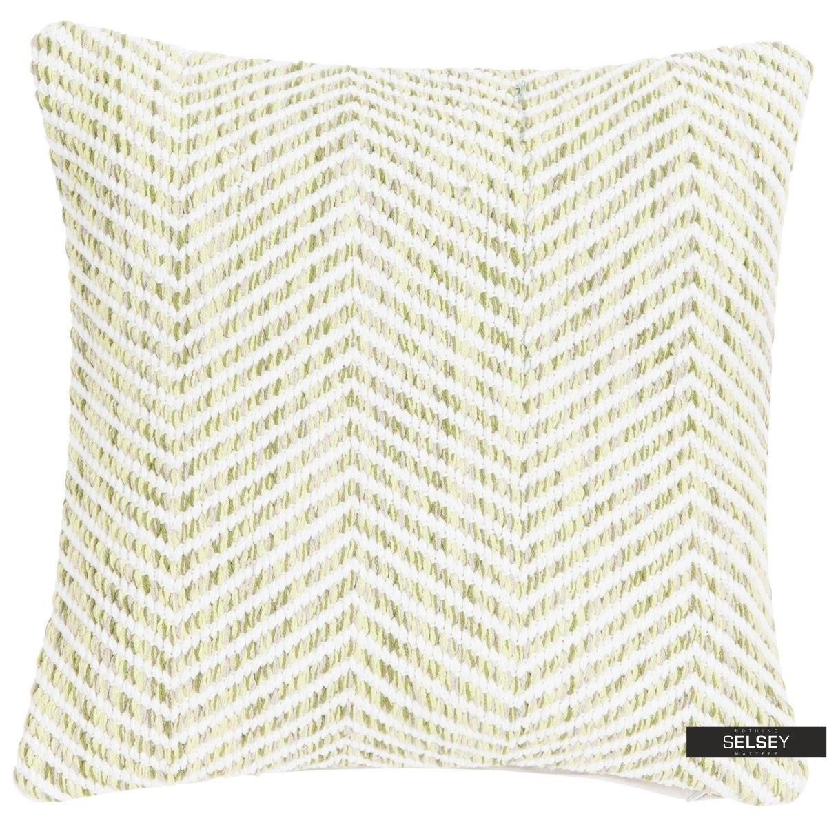 Poduszka z poszewką Melange Zigzag zielona 45x45 cm