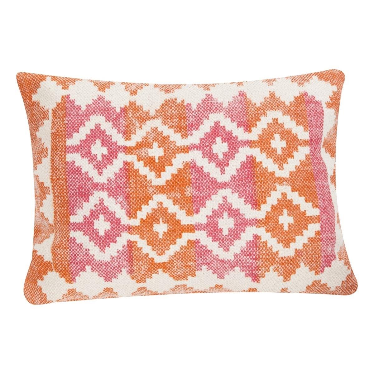 Poduszka z poszewką Summer Kelim pomarańczowo różowa 45x65 cm