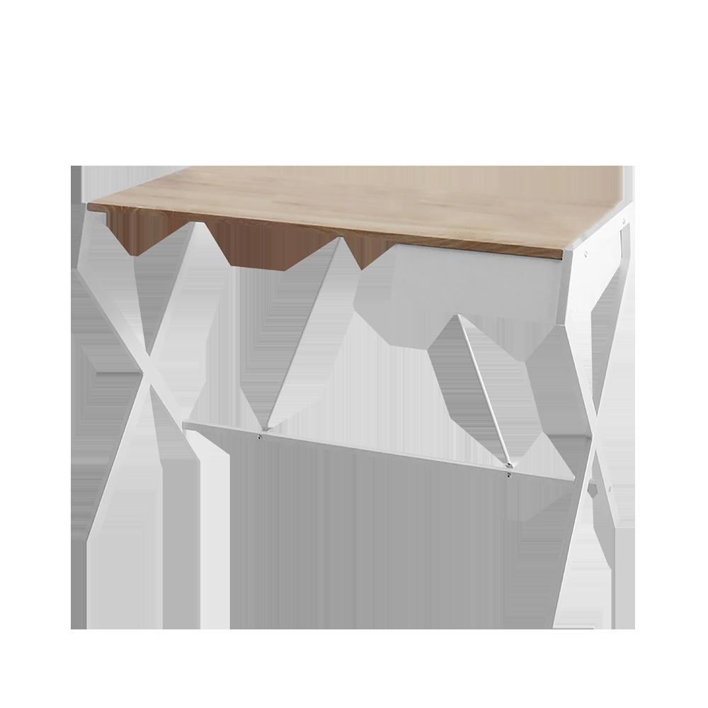 Biurko Designo białe - dąb sonoma z szufladą w minimalistycznym stylu