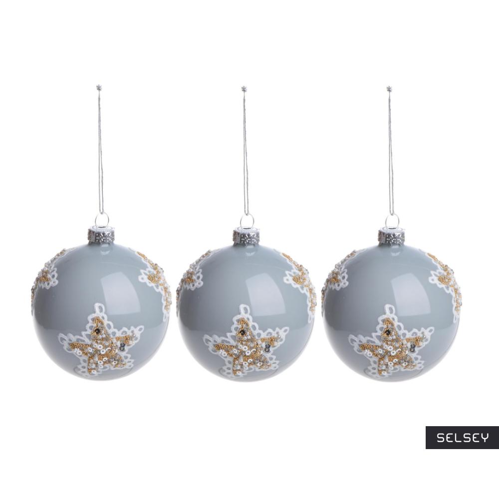 Bombki Gołębie Perły w gwiazdy 8 cm x3