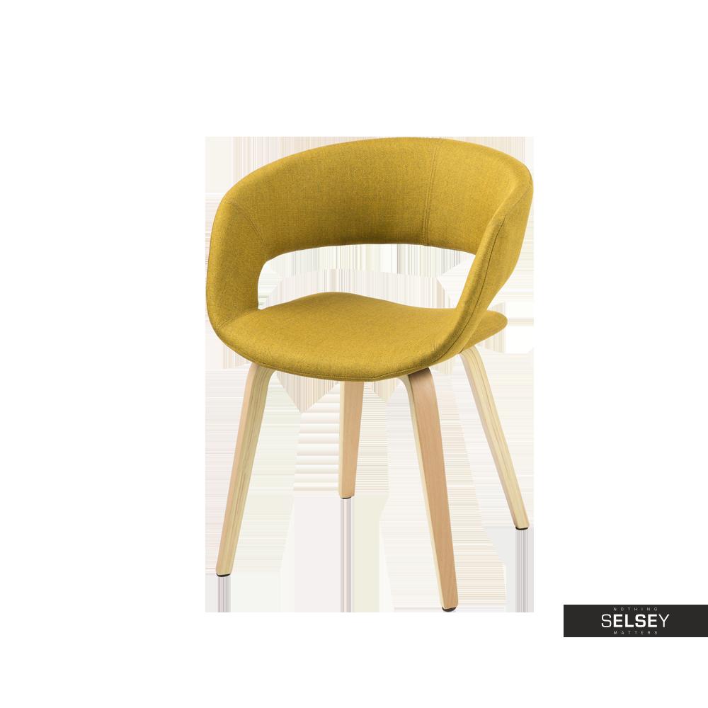 Krzesło Hannah żółte na nóżkach z giętego drewna