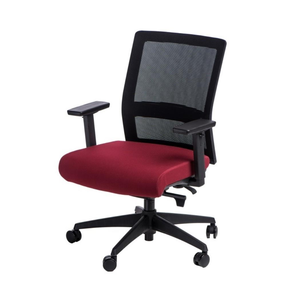 Fotel biurowy Press czarno-czerwony z obrotowym siedziskiem