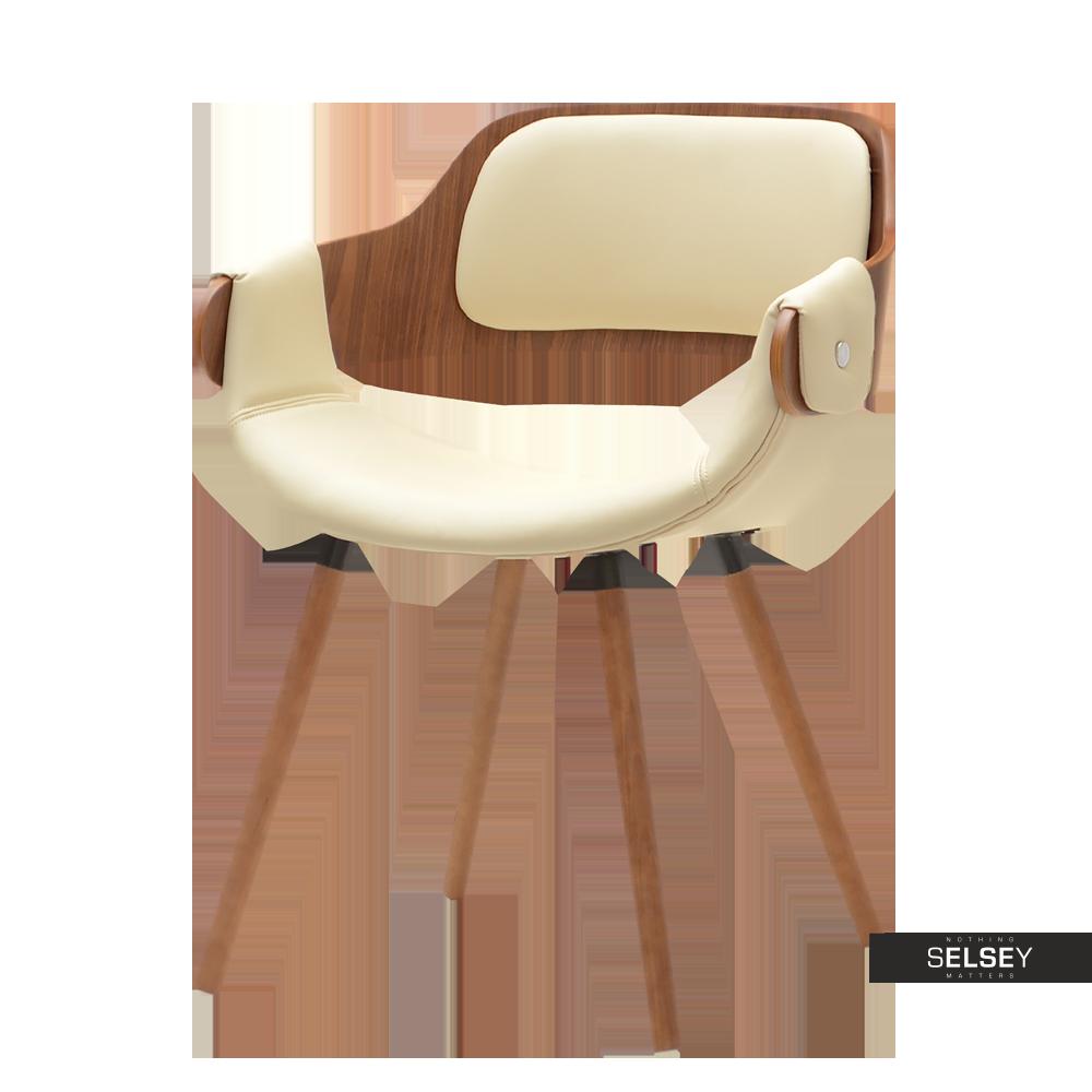 Krzesło Twig orzech - kremowa ekoskóra z drewna giętego