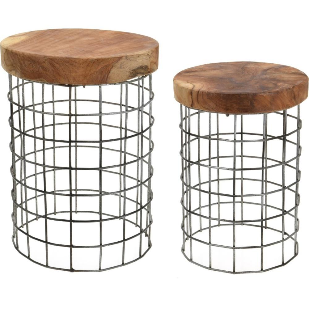 Zestaw stolików kawowych Rize Round na metalowej podstawie