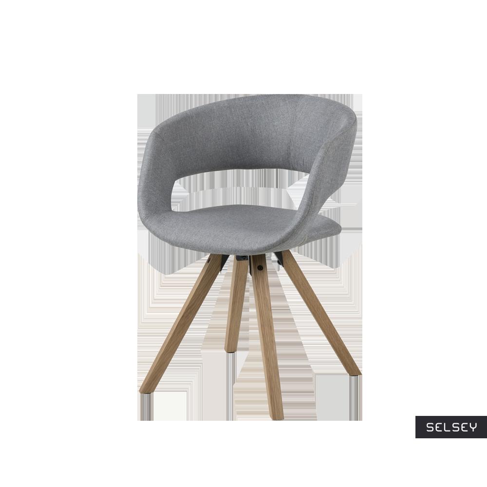 Krzesło Hannah szare na nóżkach z toczonego drewna