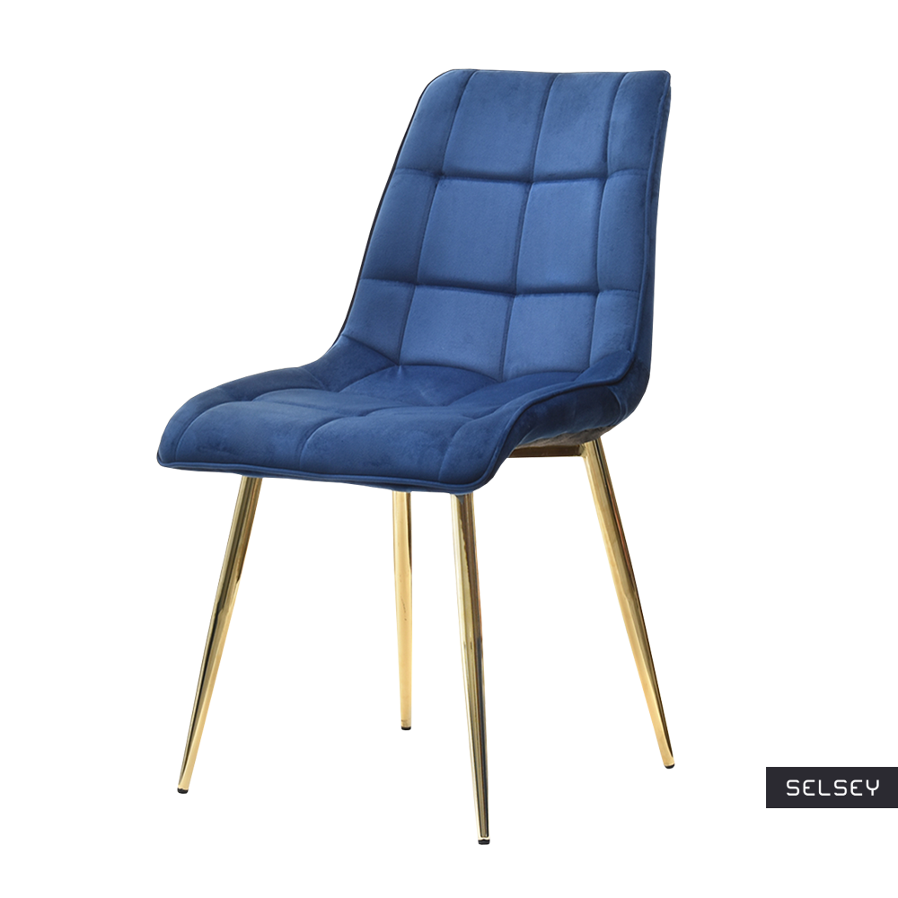 Krzesło Briare granatowo - złote tapicerowane