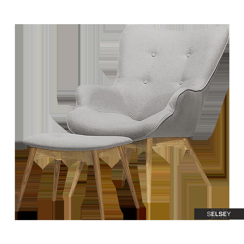 Fotel Blomstor z podnóżkiem szary