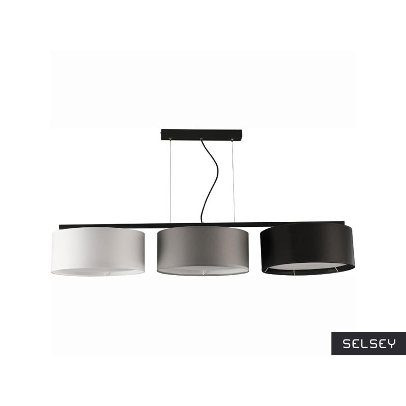 Lampa wisząca Harmony długa czarno-szaro-biała x3