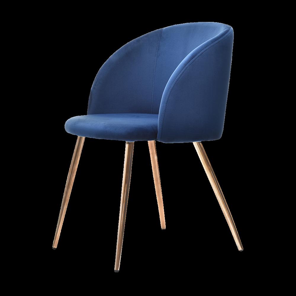Krzesło Gary niebieskie na miedzianych nogach tapicerowane z podłokietnikami