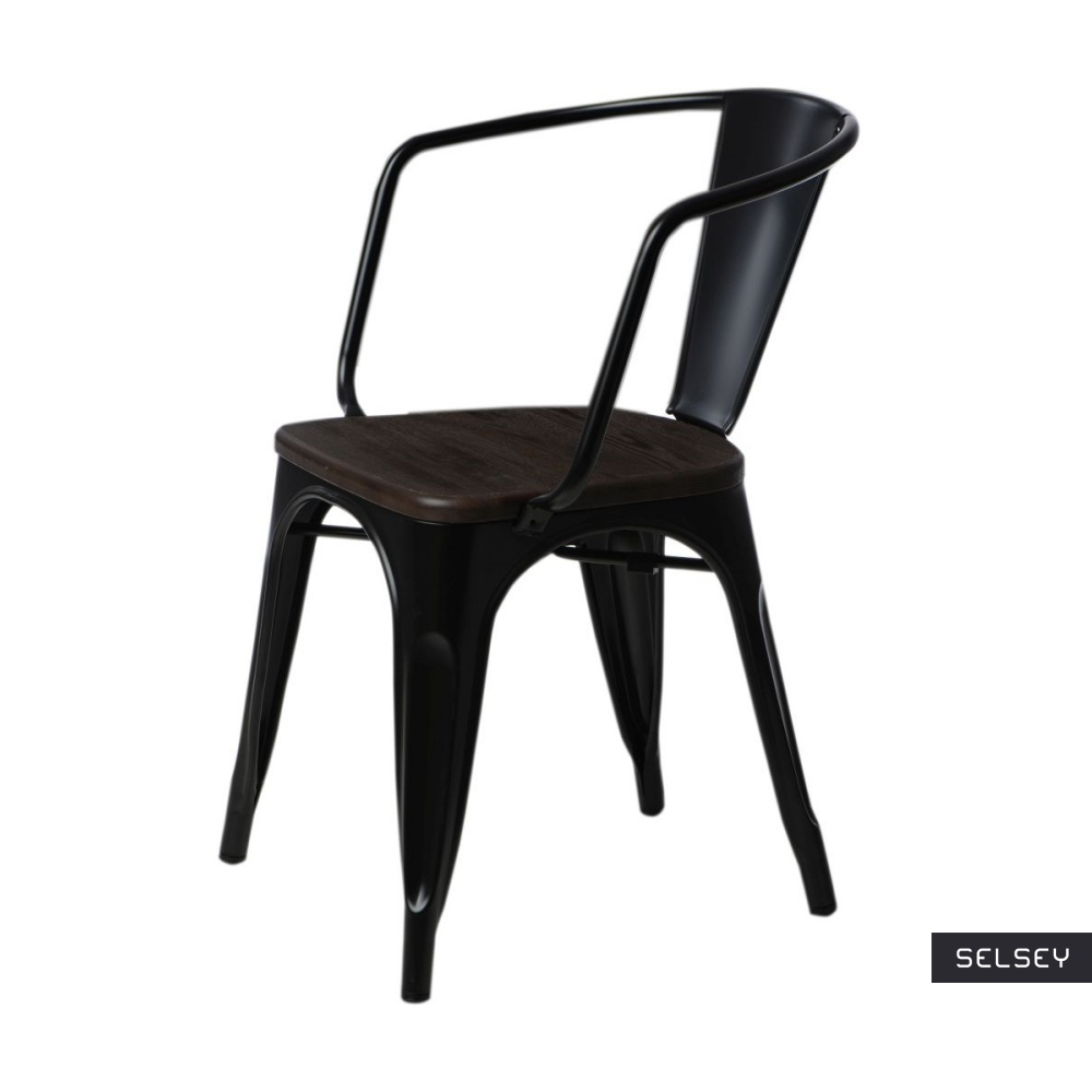 Krzesło Paris Arms Wood czarne sosna szczotkowana