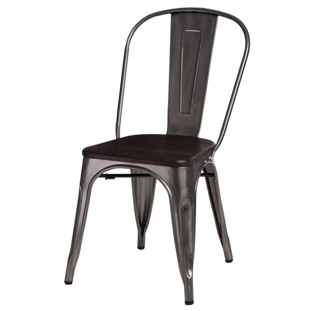 Krzesło Paris Wood metaliczne - sosna szczotkowana