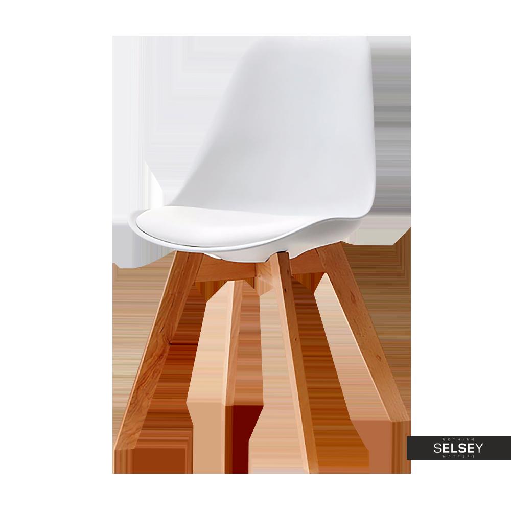 Krzesło Luis wood buk-biały z tworzywa i drewna