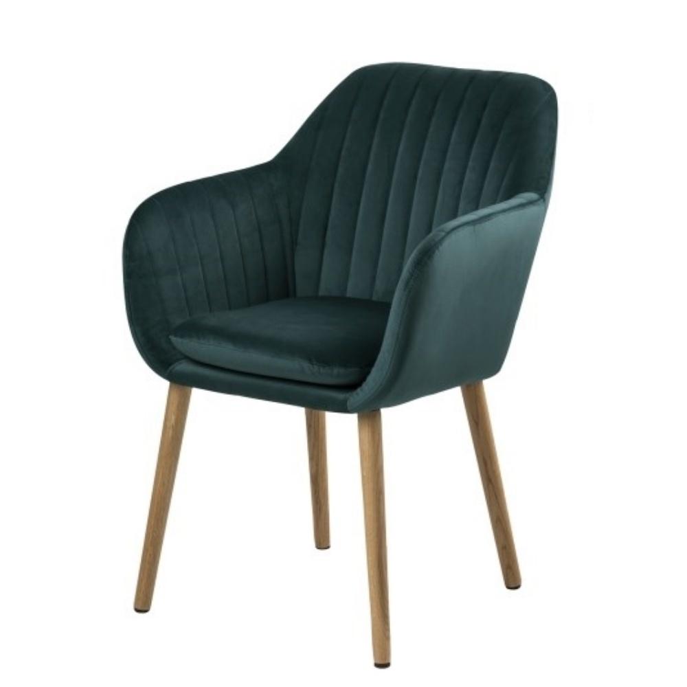 Krzesło Emilia Velvet butelkowa zieleń tapicerowane