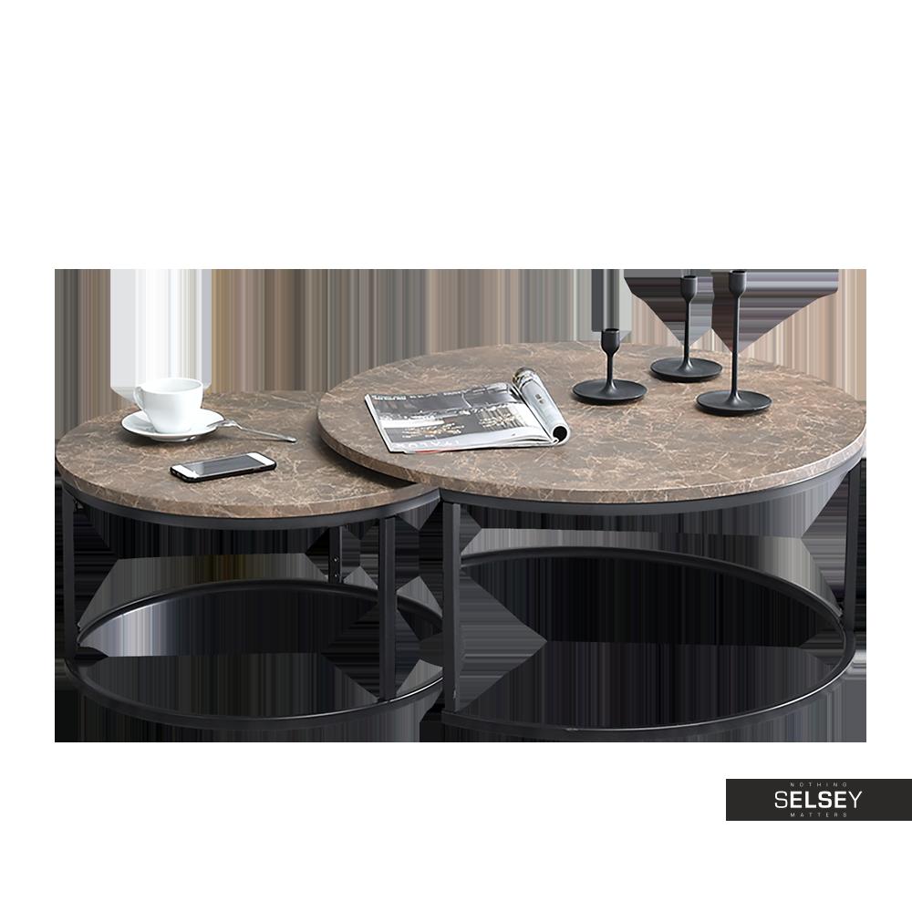 Zestaw stolików kawowych Kodia średnica 60 cm i 80 cm brązowy marmur - czarny