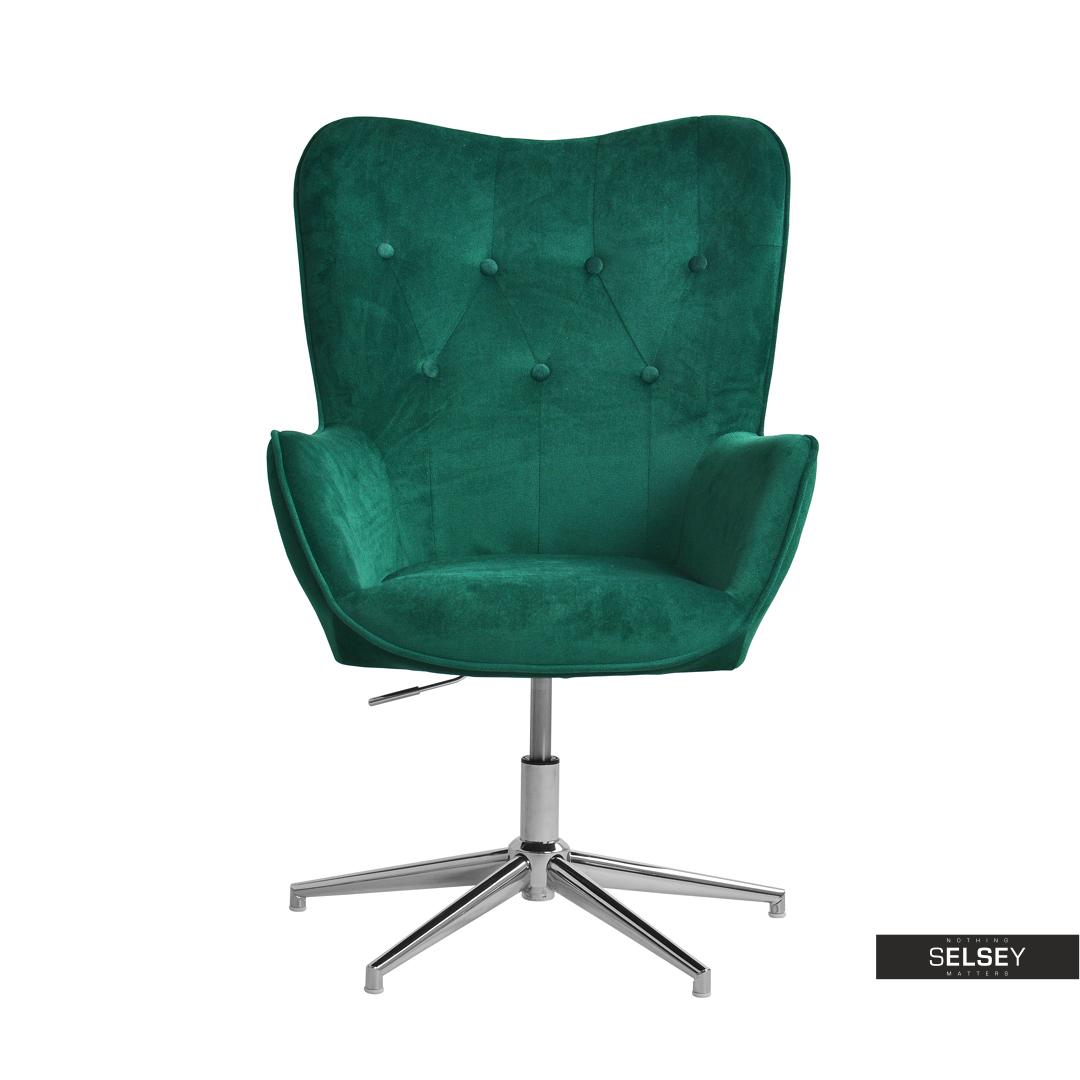 Fotel Obrotowy Trini Zielony Chrom Pikowany Velvet