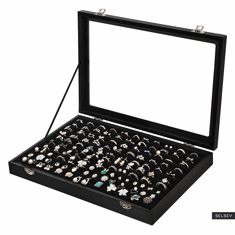 Szkatułka na biżuterię Quartz czarna gablotka na pierścionki