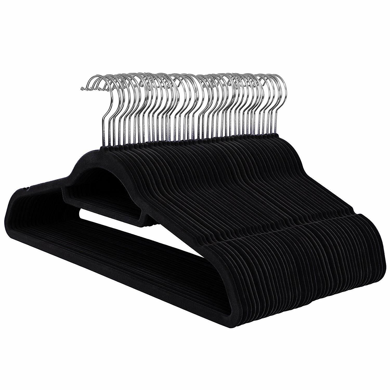 Wieszaki na ubrania Mose 50 sztuk czarne antypoślizgowe z obrotowym haczykiem