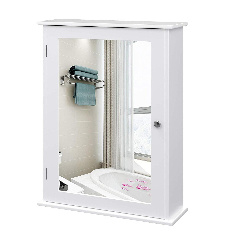 Szafka łazienkowa Wlens 41 cm wisząca z lustrem w stylu rustykalnym
