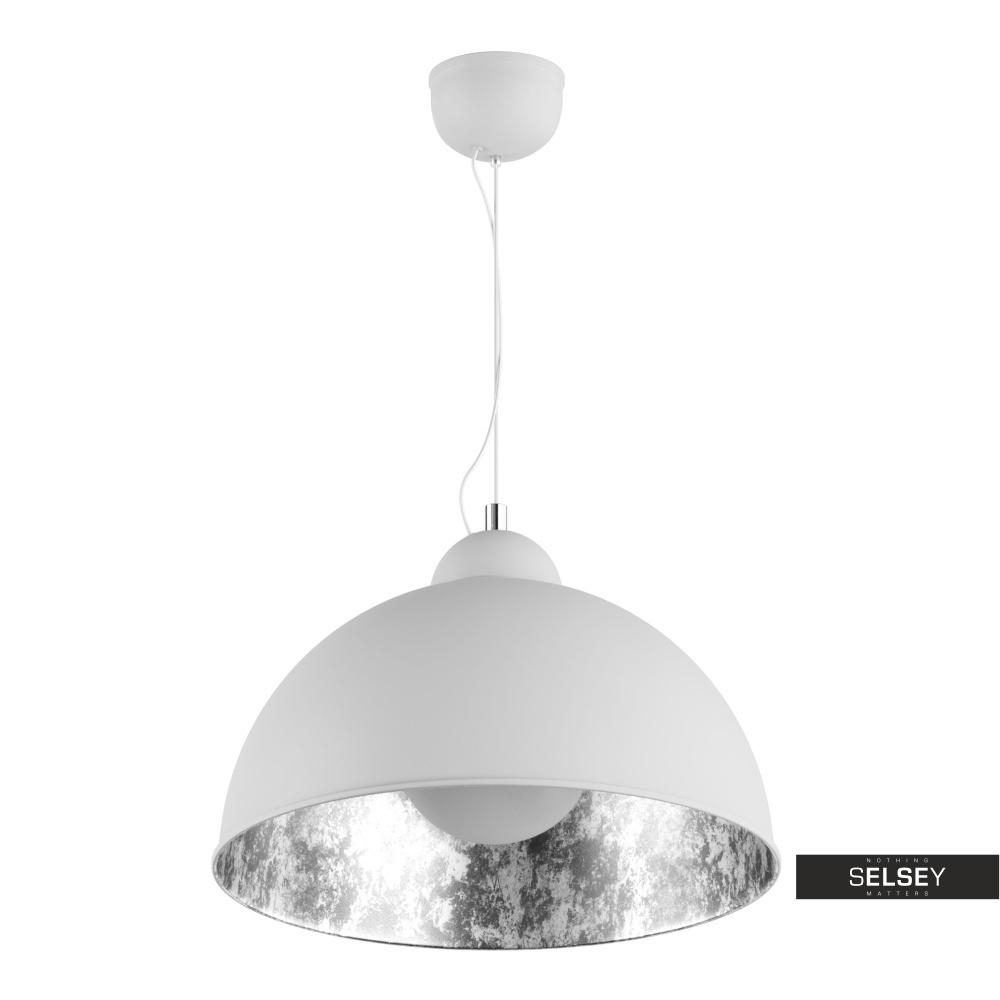 Lampa wisząca Gravity biała ze srebrnym wnętrzem
