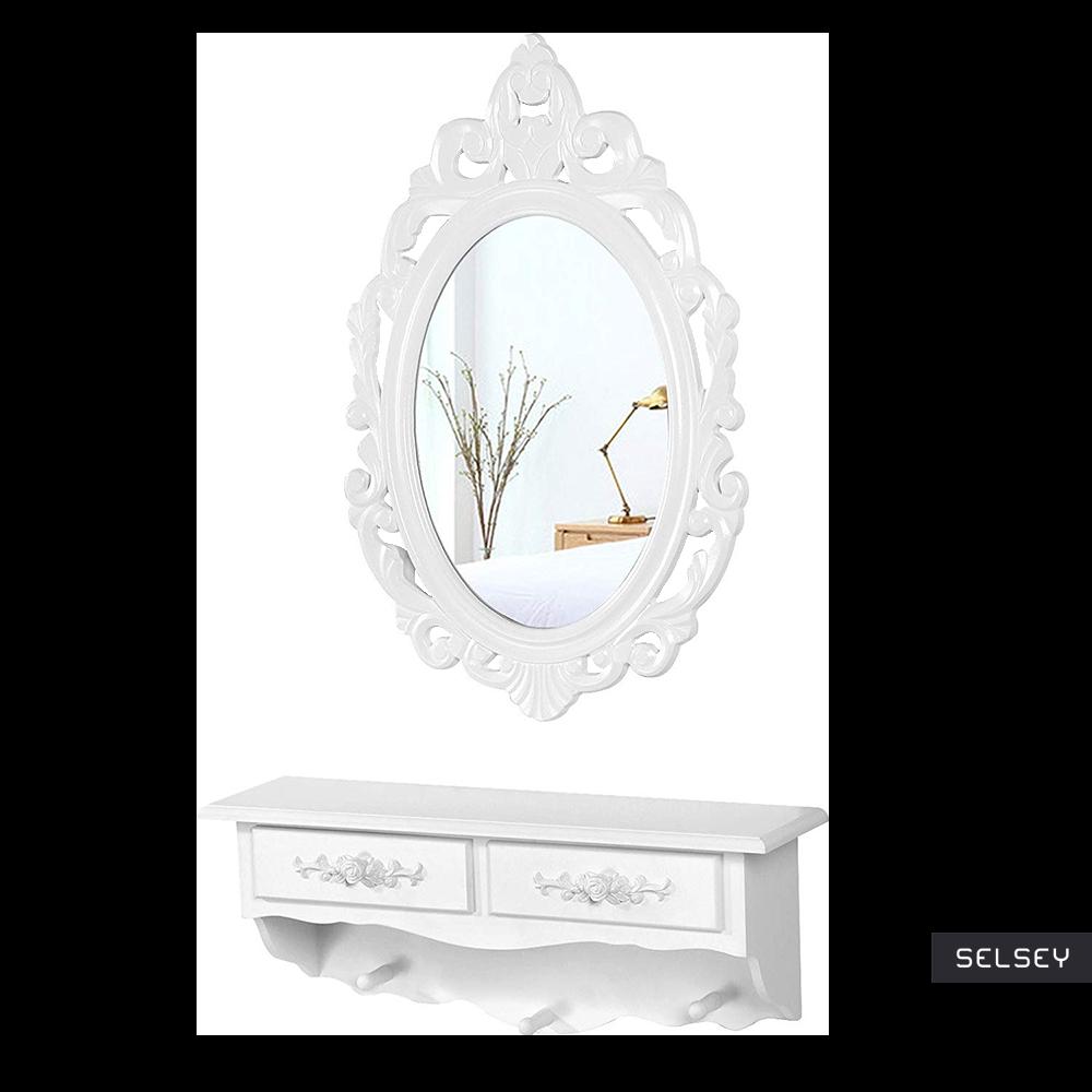 Toaletka Shalow Roses 55 cm wisząca z owalnym lustrem