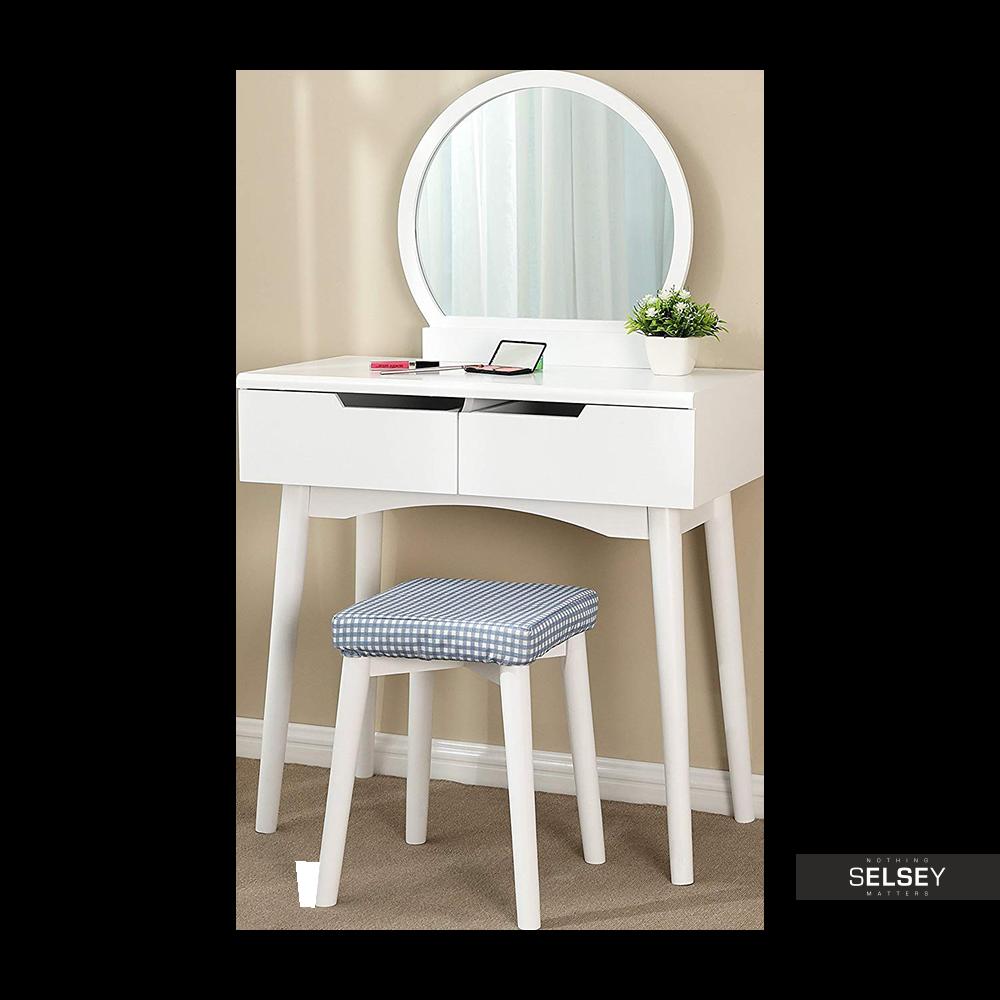 Toaletka Gaga biała z okrągłym lustrem i stołkiem