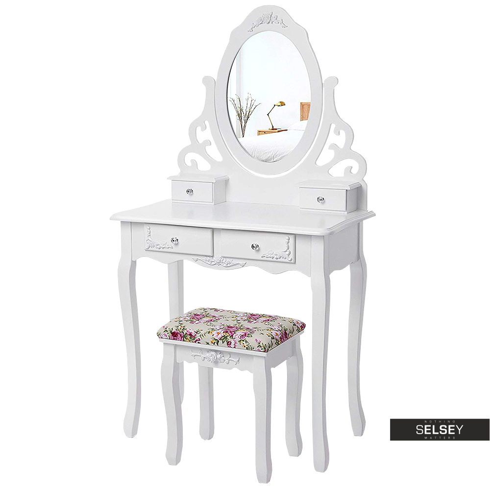 Toaletka Shalow 75 cm z owalnym lustrem i taboretem