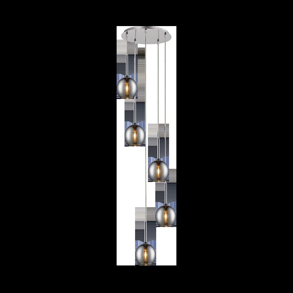 Lampa wisząca Miller x5 chrom kaskada