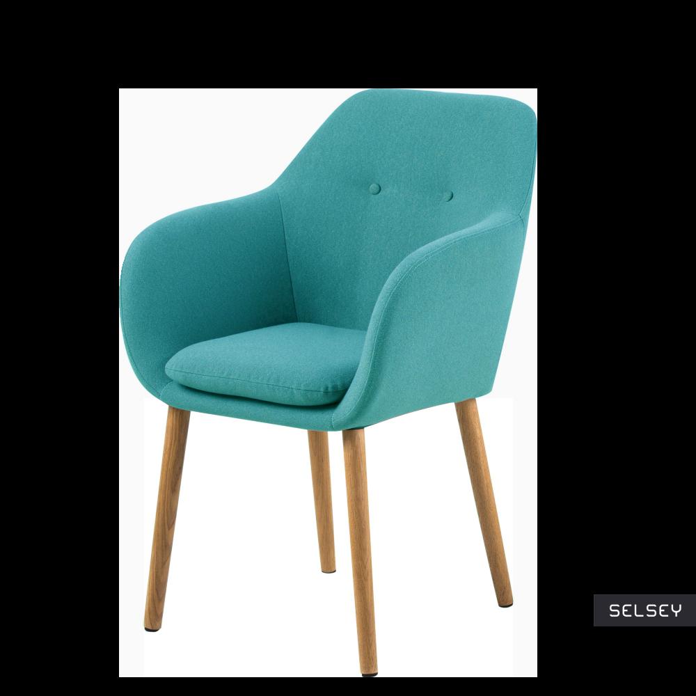 Krzesło Enisa turkusowe na drewnianych nogach
