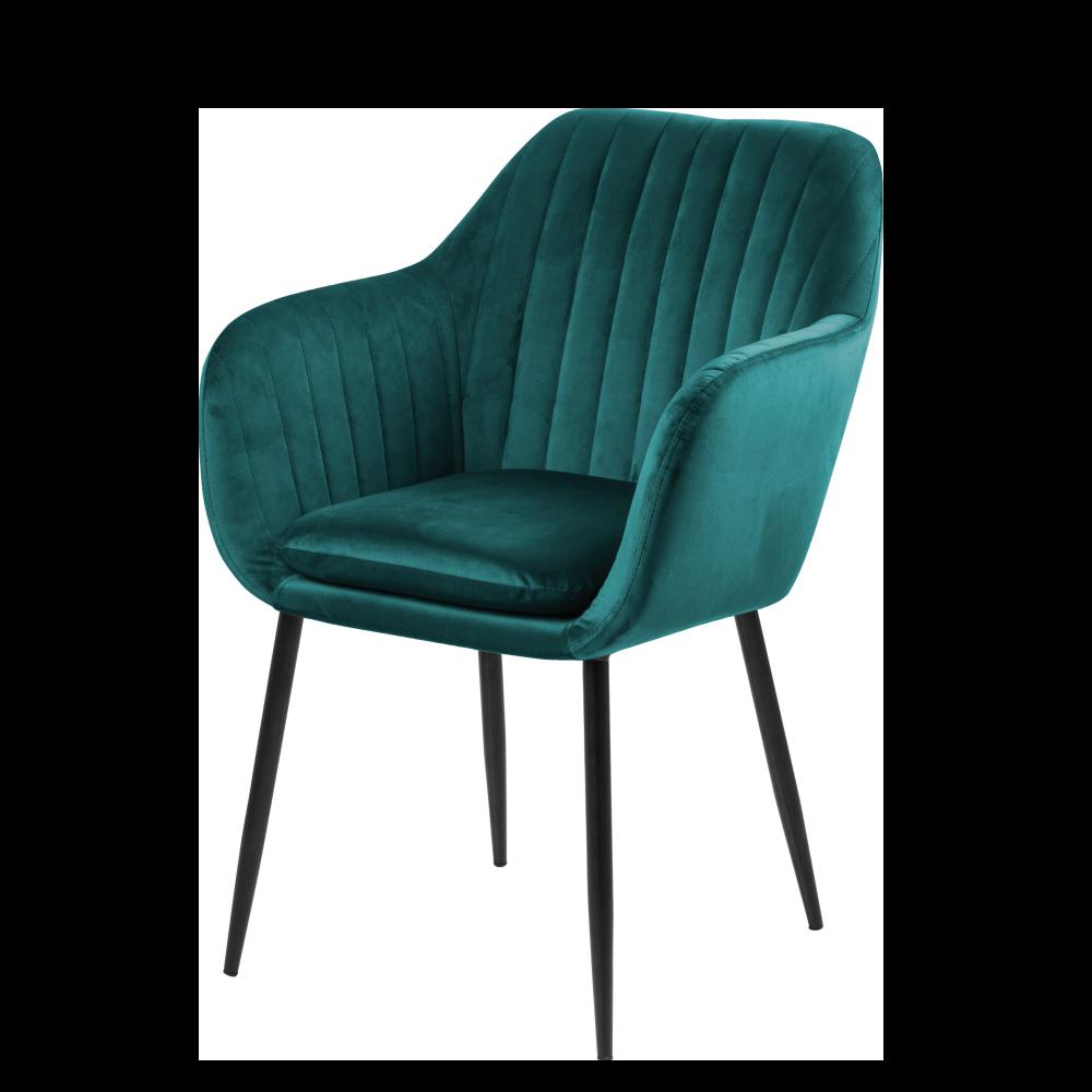 Krzesło Emilia Velvet butelkowa zieleń na metalowej podstawie