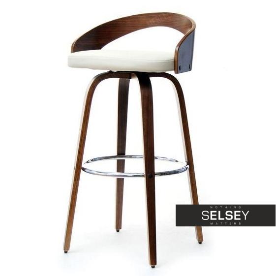 Hoker 38 orzech-ecri obrotowe krzesło barowe z niskim oparciem