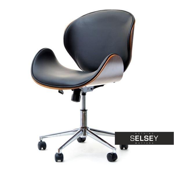Fotel biurowy Boom orzechowo-czarny z drewna i skóry ekologicznej
