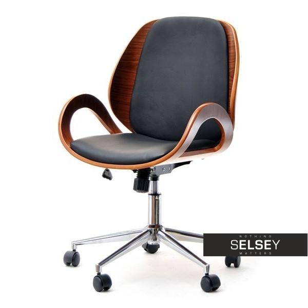 Fotel biurowy Gina orzechowo-czarny z drewna dla prezesa