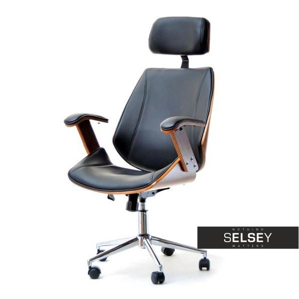 Fotel biurowy Frank orzechowo-czarny z drewna giętego