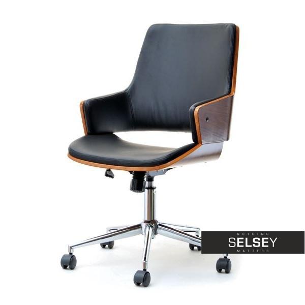 Fotel biurowy Maiela orzechowo-czarny obrotowy z drewna