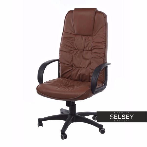 Fotel biurowy Komae - skóra brązowy