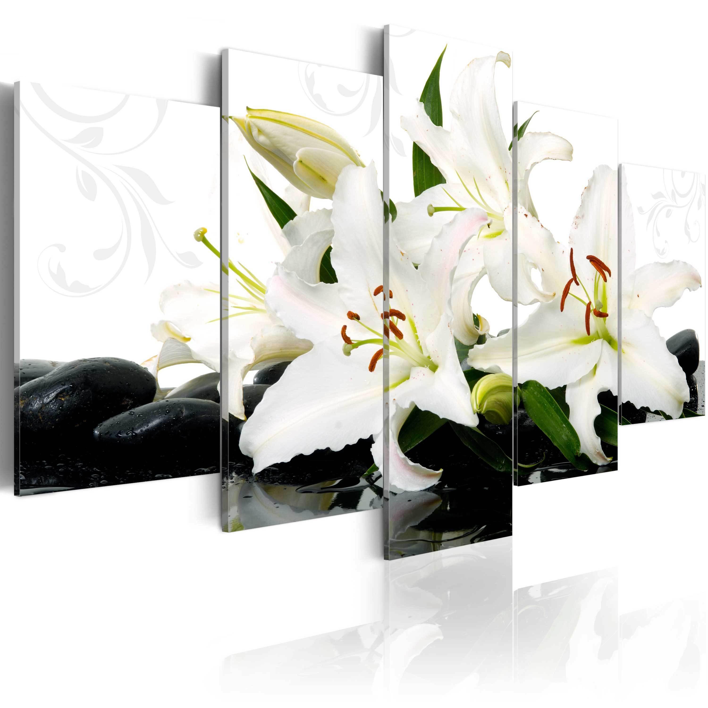 Obraz - Lilie i kamienie zen 100x50 cm