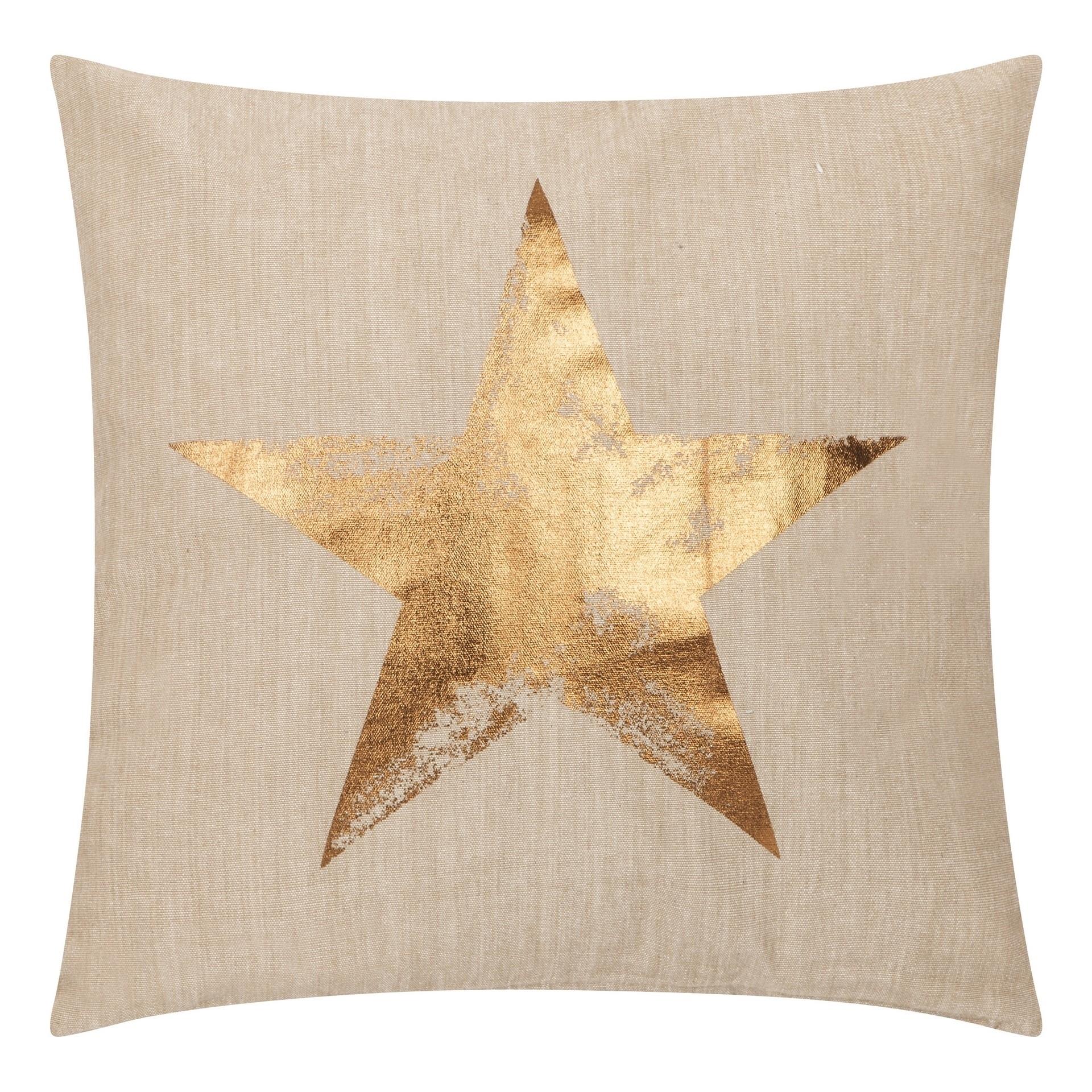 Poduszka z poszewką Star złota lniana 45x45 cm