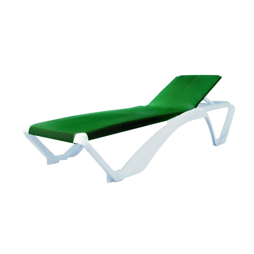 Leżak ogrodowy Bansar podstawa biała z zieloną tkaniną