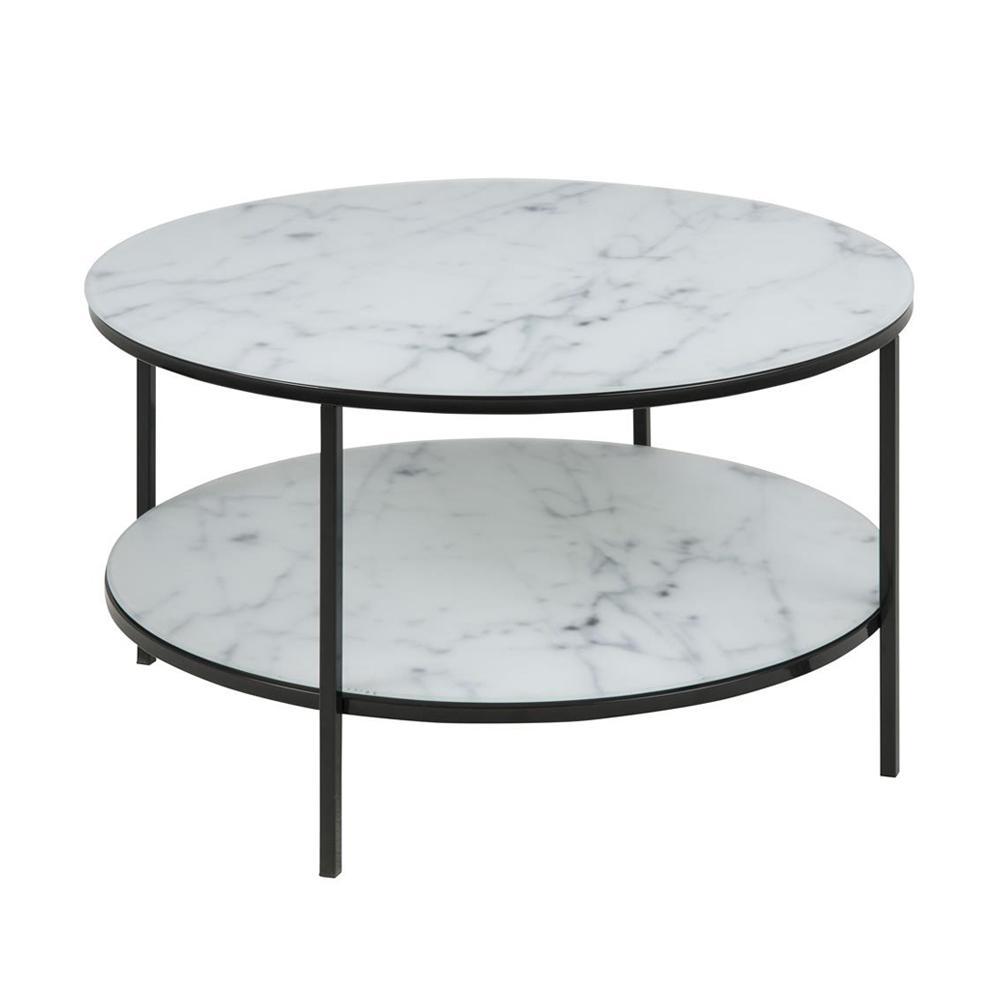 Stolik kawowy Bakar o średnicy 80 cm biały marmur z czarną podstawą