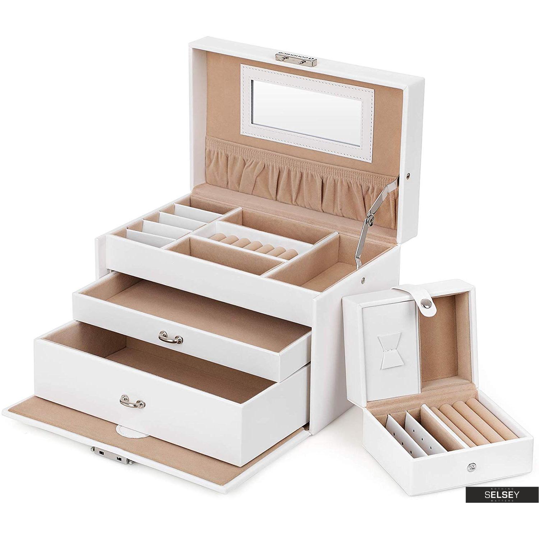 Szkatułka na biżuterię Quartz biały kuferek z dwiema szufladkami na kolczyki, pierścionki i wisiorki