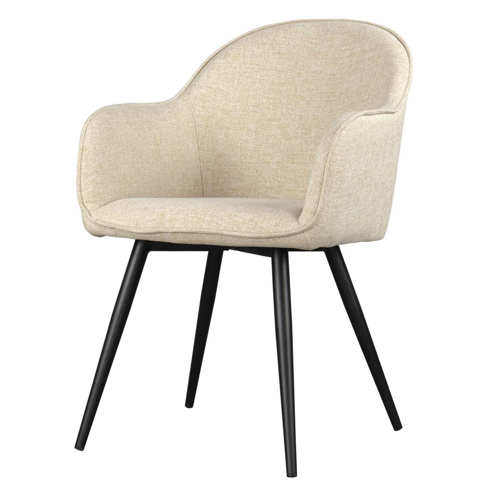 Krzesło tapicerowane Bill beżowe na czarnych nogach ze stali