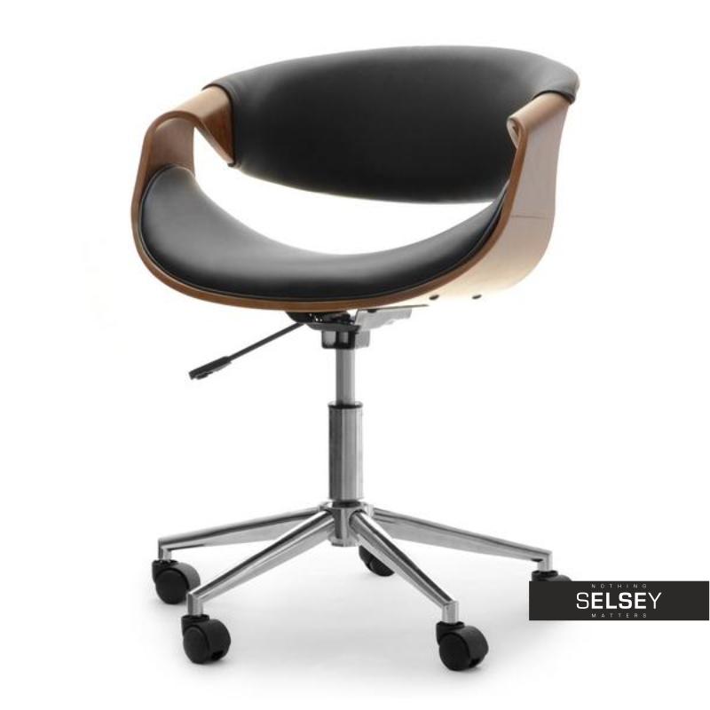 Fotel biurowy Rapid orzech- czarna skóra ekologiczna