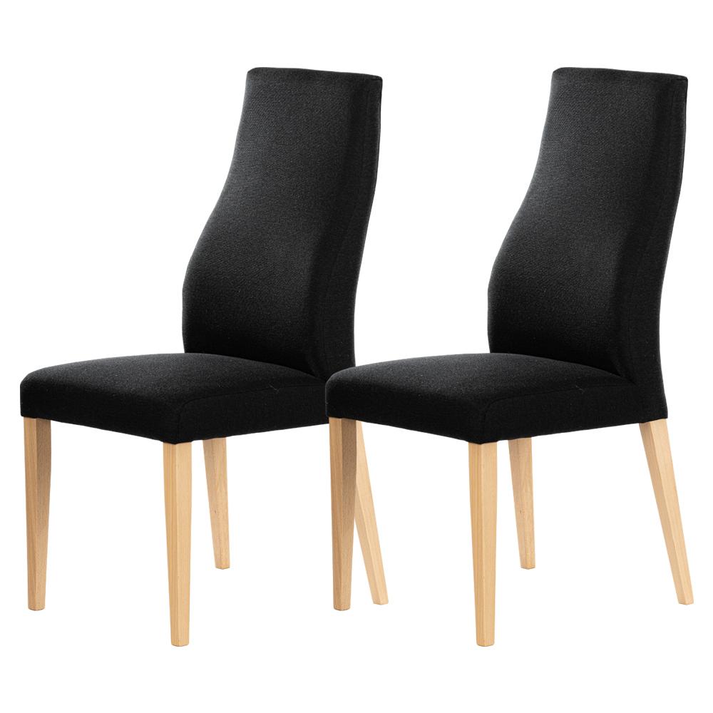 Zestaw dwóch krzeseł tapicerowanych Dreta czarne na bukowej podstawie