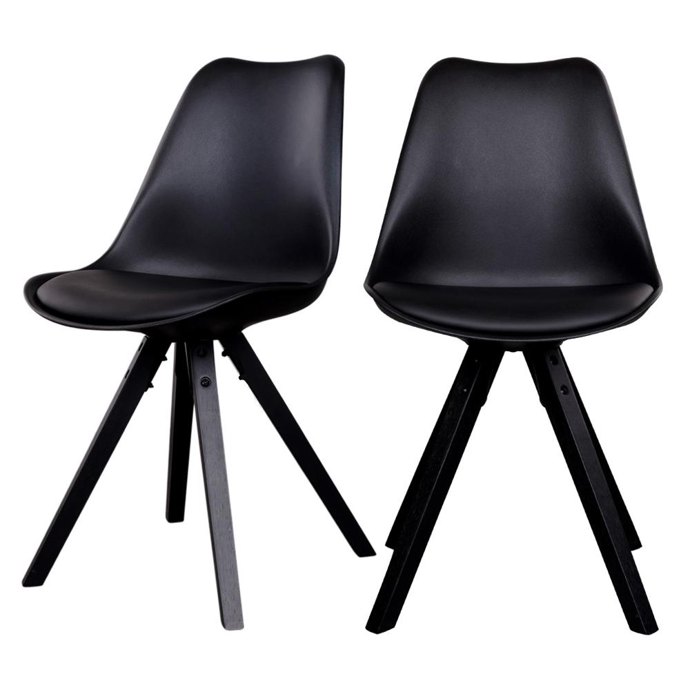 Zestaw dwóch krzeseł Umbreta czarne na czarnej podstawie
